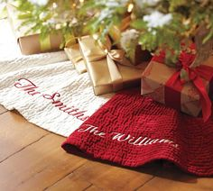 Pretty Christmas Tree Skirts. Love The Wrapping And Ribbon.....