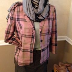 Rose plaid lined jacket Retro jacket. Size 10. Very cute. Ask me anything. Jackets & Coats