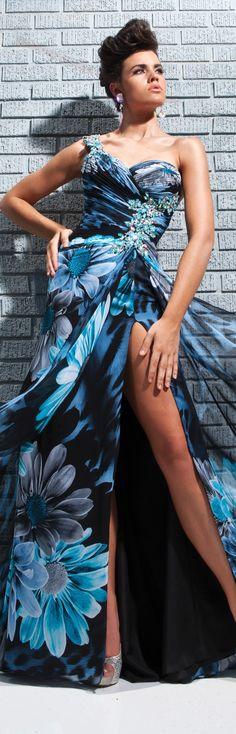Tony Bowls Le Gala Dress 113521 at Peaches Boutique Floral Fashion, Blue Fashion, Women's Fashion, Gala Dresses, Blue Dresses, Dance Dresses, Couture Fashion, Runway Fashion, High Fashion Dresses