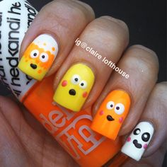 Googly eyed candy corn nails by Claire Lofthouse (Instagram @Claire Lofthouse)! Halloween Nails with Nail It! Magazine!