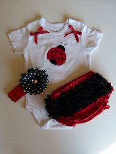 Ladybug Baby Girl Gift Set Onesie Ruffle Butt Bloomers and Flower Polka Dot Daisy Hairbow. $34.00, via Etsy.