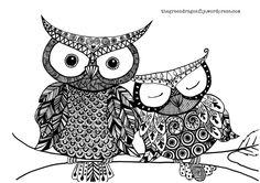 Owl coloring page - The Green Dragonfly