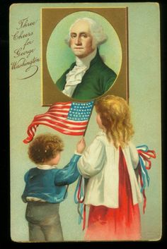 Children observing portrait of George Washington - Three Cheers for George Washington. Vintage postcard circa 1910.