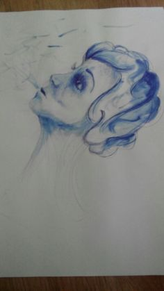 Pen drawing blue woman