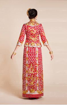Kwa Qun Embroider Dragon & Phoenix Brocade Chinese Wedding Gown Qipao