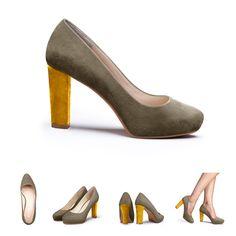 Tellement chics ces escarpins gris à talon jaune, à porter en fin d'été pour un accord parfait avec les premières couleurs automnales ! #shoes #fashion