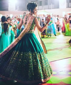 Don't you love how the soft shell pink dupatta looks against that wide ghera of the emerald skirt ? | Shot by @fotografia9_india #IndianWedding #ideas #Fashion| Curated by Witty Vows - The ultimate guide for the Indian Bride | www.wittyvows.com