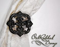Metal Curtain Tie Back Set, Tiebacks, Holdback, Oil Rubbed Bronze, Cast Iron, Victorian, Shabby Chic