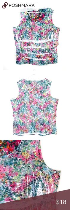 """Coldwater Creek Watercolor Ruffle Floral Tank 1X Brand: Coldwater Creek Style: Sleeveless Tank, Ruffle/Tiered Front Size: 1X (18) Color: Multi: green, purple, pink, blue, white Material: 50% Cotton, 50% Polyester Measurements taken flat: -Across under arm: 23"""" -Shoulder to hem:27"""" Garment Care: Machine wash, tumble dry  Condition: No flaws. See pictures for details. Coldwater Creek Tops Tank Tops"""