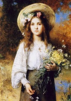 Young girl with daises Artist: Alexei Alexeivich Harlamoff