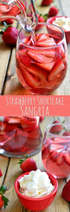 This Strawberry Shortcake Sangria is like strawberry shortcake in a glass! Made with whipped cream flavored vodka and strawberry simple syrup, its the ideal drink for summer! This Strawberry Shortcake San Fun Drinks, Yummy Drinks, Alcoholic Drinks, Yummy Food, Party Drinks, Tasty, Flavored Vodka Drinks, Mixed Drinks, Holiday Drinks