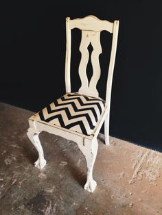 Ball and Claw Chair with a contemporary twist! The perfect dressing table chair.  R800.  Contact us for orders and enquiries: erin@freerangeboy.co.za // dave@freerangeboy.co.za  #design #furniture #homedecor #interiordesign #interiordecor #freerangeboy #interior #upcycled #upcycling #homeware #accessories #southafrica #vintage #antique Dressing Table With Chair, Interior Decorating, Interior Design, Paint Ideas, Chalk Paint, Dining Chairs, Contemporary, Antiques, Diy