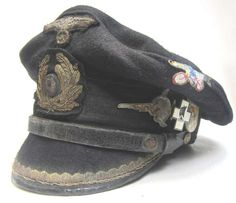 German U-Boat Kreigsmarine Chief Engineers Peaked cap. This cap has been made to look 70+ years old. Commanded by Hans Lehmann it sunk two ships and damaged one other. U-997 was attacked by an escort ship in Nov 1944 and depth charged by an Allied U-boat hunter group in April 1945. It officially capitulated in May 1945 and was sunk by the British in Lisahally or Loch Ryan for Operation Deadlight.
