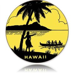 Vintage and Retro Wall Decor - JackandFriends.com - Retro Hawaii Round Round Tin Sign, $35.97 (http://www.jackandfriends.com/retro-hawaii-round-round-tin-sign/)