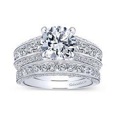 Rebecca 14k White Gold Round Straight Engagement Ring angle 4