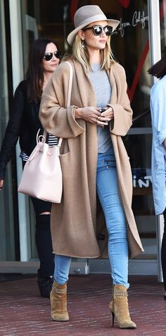 Rosie Huntington-Whitely wearing light denim with neutral tones