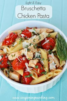 Light & Easy Bruschetta Chicken Pasta {Tyson Grilled & Ready Chicken Strips} Tried it tonight. Pasta Recipes, Chicken Recipes, Dinner Recipes, Cooking Recipes, Healthy Recipes, I Love Food, Good Food, Yummy Food, Tasty
