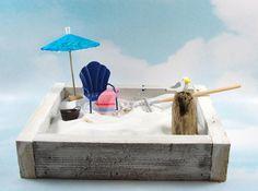 miniature zen beach garden kit blue shell by EnchantingGardenArt