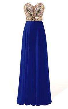A Line Sweetheart Chiffon Floor Length Beading Royal Blue Open Back Long Prom Dress