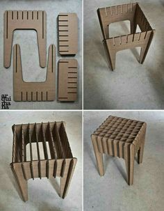 Our Little Cardboard Stool by arquimana on Etsy(Diy Furniture Cardboard) Cardboard Chair, Diy Cardboard Furniture, Cardboard Design, Paper Furniture, Cardboard Sculpture, Cardboard Paper, Cardboard Crafts, Plywood Furniture, Furniture Design