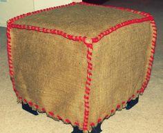 DIY Burlap Ottoman Slipcover.
