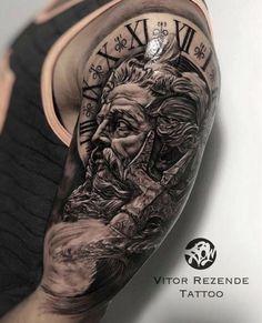 This is my new ink. Zeus Tattoo, Tattoo On, Body Art Tattoos, Arm Sleeve Tattoos, Tattoo Sleeve Designs, Tattoo Designs Men, Skull Sleeve, Gott Tattoos, Bild Tattoos
