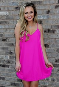 Bright pink spaghetti strap dress