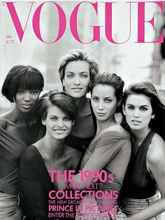 Naomi Campbell, Linda Evangelista, Tatjana Patitz, Christy Turlington and Cindy Crawford photographed by Peter Lindbergh for the January 1990 issue of Vogue. See the Vogue Cover Archive here Vogue Uk, Vogue China, Vogue Japan, Vogue Paris, Vogue Photo, Peter Lindbergh, Linda Evangelista, Christy Turlington, Cindy Crawford