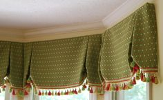Valances perfect for kitchens! Window Valances, Valance Curtains, Kitchen Valence, Custom Window Treatments, Window Dressings, Window Styles, Curtain Ideas, Curtain Rods, Wardrobes
