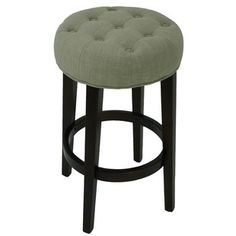 Bar Stools & Kitchen Counter Stools :: Tufted Backless Counter Stool in Sand Fabric