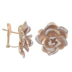Annamaria Cammilli 18K Yellow Gold & Diamond Large Rose Earrings (=)
