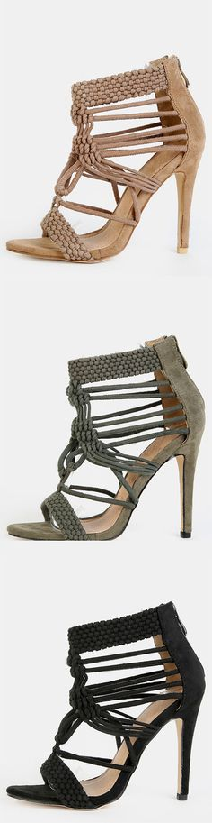 Braided Faux Suede Stiletto Heels