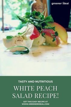 Check out this Amazing and Tasty White Peach Salad Recipe! Perfect Salad recipe for this Summer.  | Salad Recipe | White Peach Salad Recipe | Summer Foods | Simple Salad Recipe | Peach Salad | #Food #SaladRecipe #FoodRecipe #Salad #SaladRecipes #Vegan #VeganRecipe #VeganFood #vegetarian #Salads #Peach #Peaches #WhitePeachSalad #Summer #SummerFood #SummerSalad