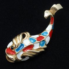 Fish Pin Brooch Vintage Figural Enamel Red White Blue