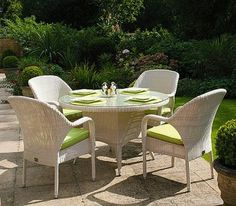 Sussex Round Table - 120cm & 4 Sussex Stackable Armchairs - Soft White