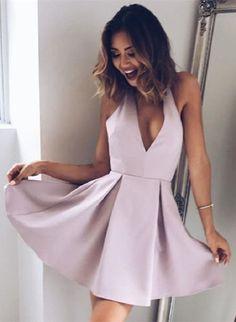 Lilac Homecoming Dress,Short Prom Dress,Sexy V-neck Graduation Dress