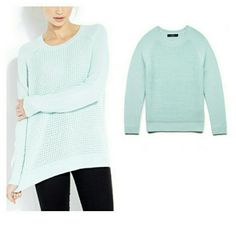 FOREVER 21 Sweater Great spring color! Long-sleeved mint green/blue Forever 21 sweater. Gently used. Bundle to save on shipping! Forever 21 Sweaters Crew & Scoop Necks