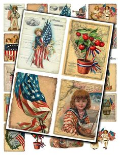 Vintage Americana Patriotic Collage Sheet - Red White & Blue Images via Etsy - MagpieMine