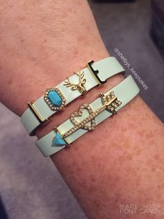 KEEP Collective love deer head turquoise gold arrow heart double leather band