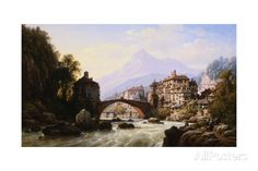 The Old Roman Bridge of St. Martin, Italy Giclee Print by Charles Eupharasie Kuwasseg at AllPosters.com