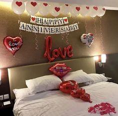 Birthday Decorations At Home, Love Decorations, Anniversary Decorations, Anniversary Plans, Happy Anniversary Cakes, Anniversary Cards, Hubby Birthday, Birthday Surprise Boyfriend, Diy Birthday