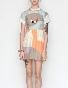 Jane Collar Dress In Maps