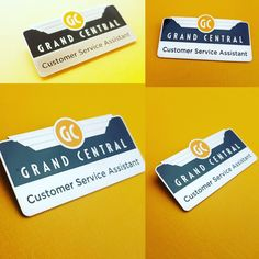 Premier custom made staff name bars for Grand Central Railways, phot-etched process with engraved & one colour enamel infill, magnetic fixing to reverse. One Color, Colour, Personalised Badges, Custom Coins, Charity, Enamel, Color, Custom Badges, Vitreous Enamel