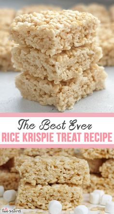 marshmallow treats We've perfected this The Best Ever Rice Krispie Treat Recipe over the years and it makes the best Rice Krispie Treats we've ever tasted! Classic Desserts, Great Desserts, Delicious Desserts, Dessert Recipes, Yummy Food, Dessert Ideas, Rice Recipes, Snack Recipes, Homemade Rice Krispies Treats