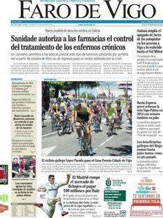 Los Titulares y Portadas de Noticias Destacadas Españolas del 2 de Septiembre de 2013 del Diario Faro de Vigo ¿Que le pareció esta Portada de este Diario Español?