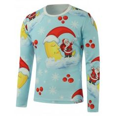 Santa Moon Snowflake Printed Long Sleeve Sweatshirt