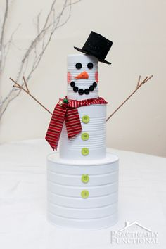 If you're looking for a quick and easy Christmas craft, look no further! This adorable tin can snowman is not only a great way to recycle some leftover tin cans, but it's a really fun project and it's fast and simple to put together!