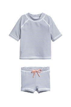 Swim Set UPF 50 | White/blue striped | KIDS | H&M US