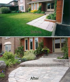 Before After Backyard Patio Natural Stones With Step