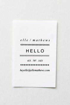 Elle: Letterpress Calling Cards - Set of 50. $75.00, via Etsy.